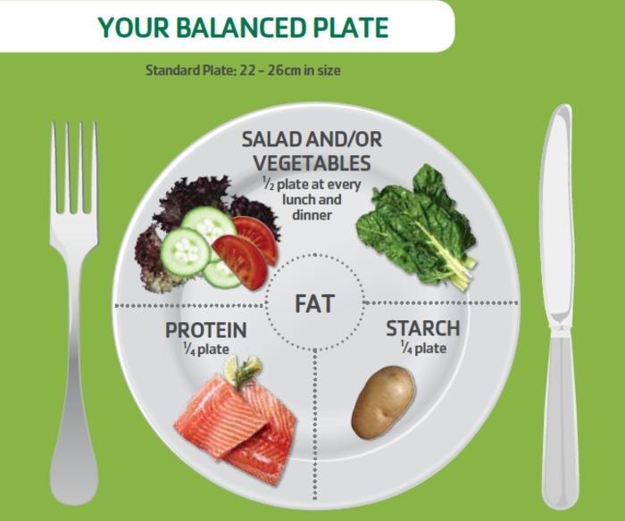 gesundes essen balanciert einnehmen, fette, proteine, salat und gemüse, kohlenhydrate, balancierte ernährungsweise