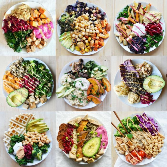 gesundes essen in neun bildern mit salaten vorstellen, salatteller, kichererbsen, avocado, brokkoli