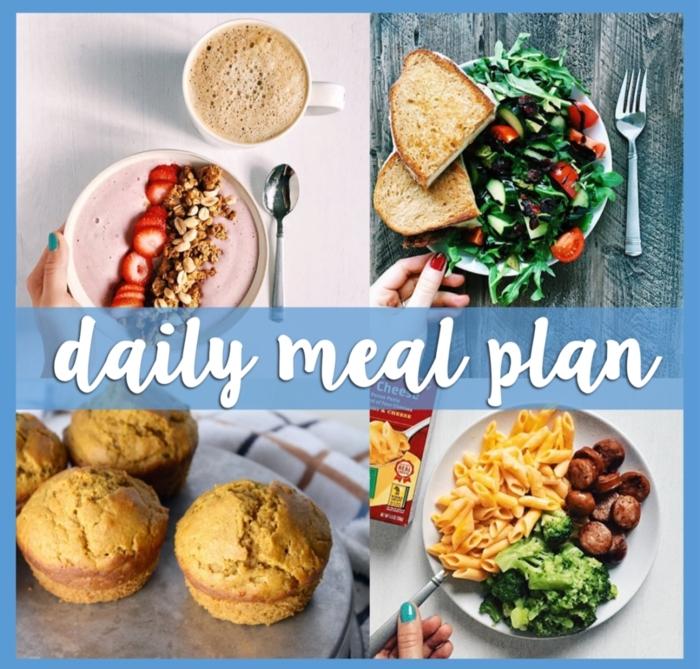 tagesmenü zum genießen und abnehmen, ausgewogene ernährung, kaffee mit müsli und joghurt zum frühstück, nudeln mit gemüse und fleisch zum abendessen, salat zu mittag