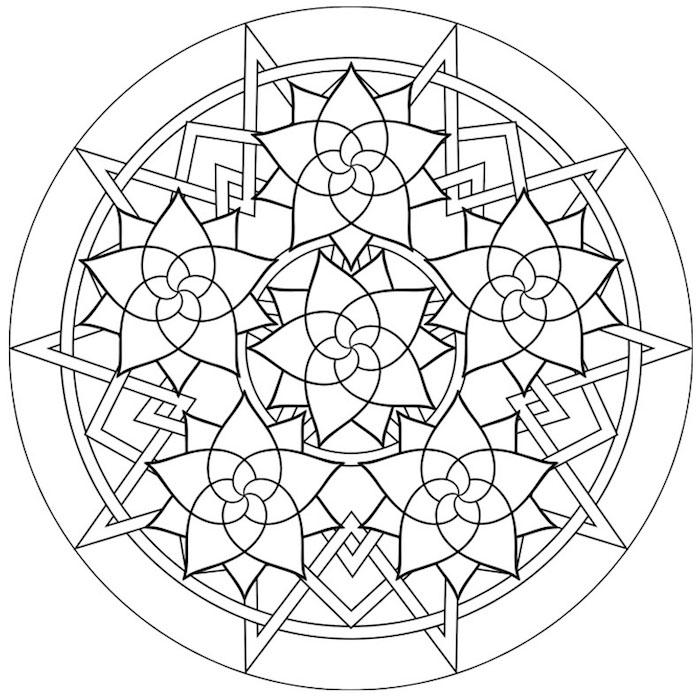 ausmalbilder kostenlos herunterladen, geometrische elemente, schwarze linien