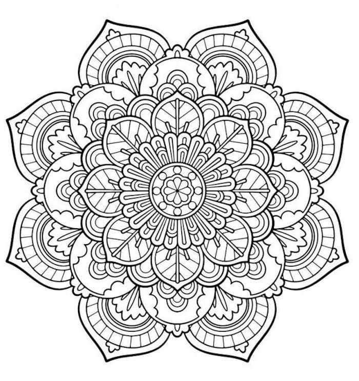 ausmalbilder kostenlos, große blume mit mandala motiven, weißer hintergrund