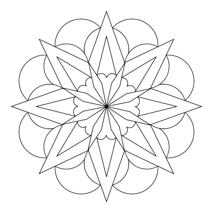 ausmalbilder zum ausdrucken, halbkreise in kombination mit dreiecken, einfach