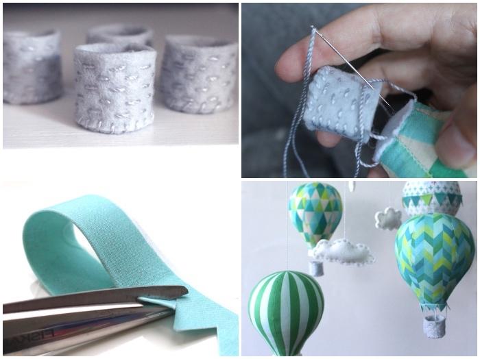 baby geschenk basteln, mobile selber machen, grauer faden, babyzimmer dekorieren