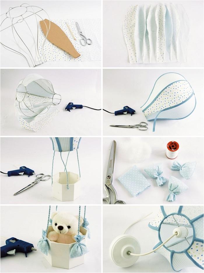 heißluftballon lampe, baby geschenk basteln, stücke stoff aneitnander nähen, kleines bärchen