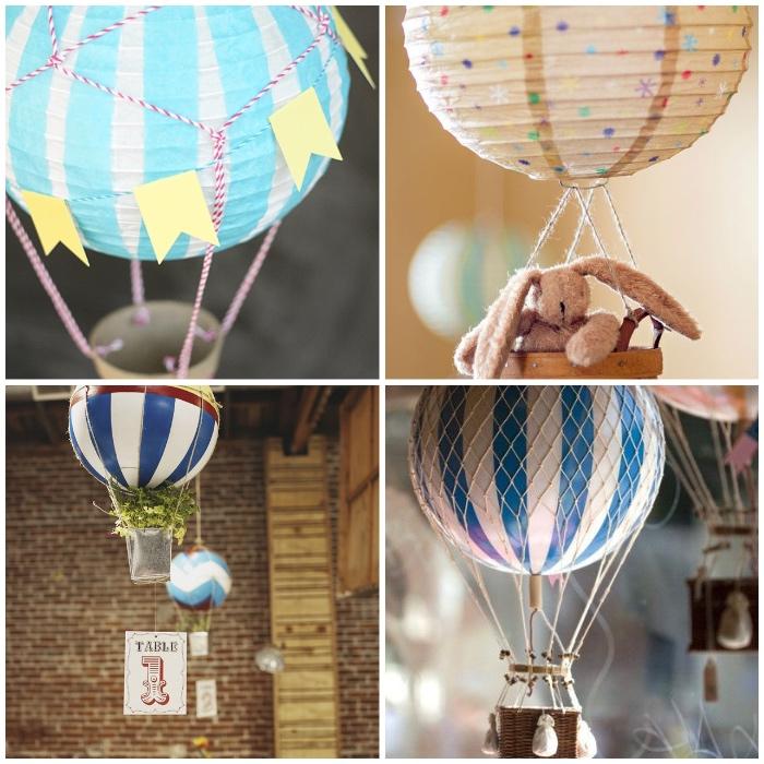 baby geschenk basteln, luftballons in verschiedenen designs, ball in weiß und blau, bunte papierlaternen