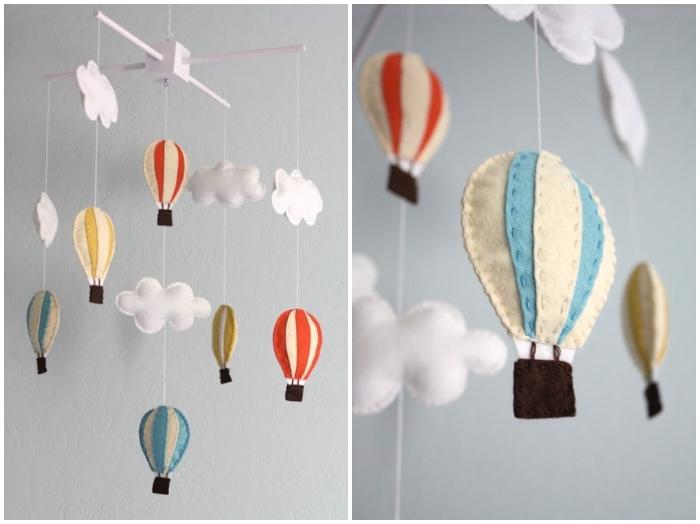 mobile selber machen, baby geschenk basteln, hängende deko, babyzimmer dekorieren