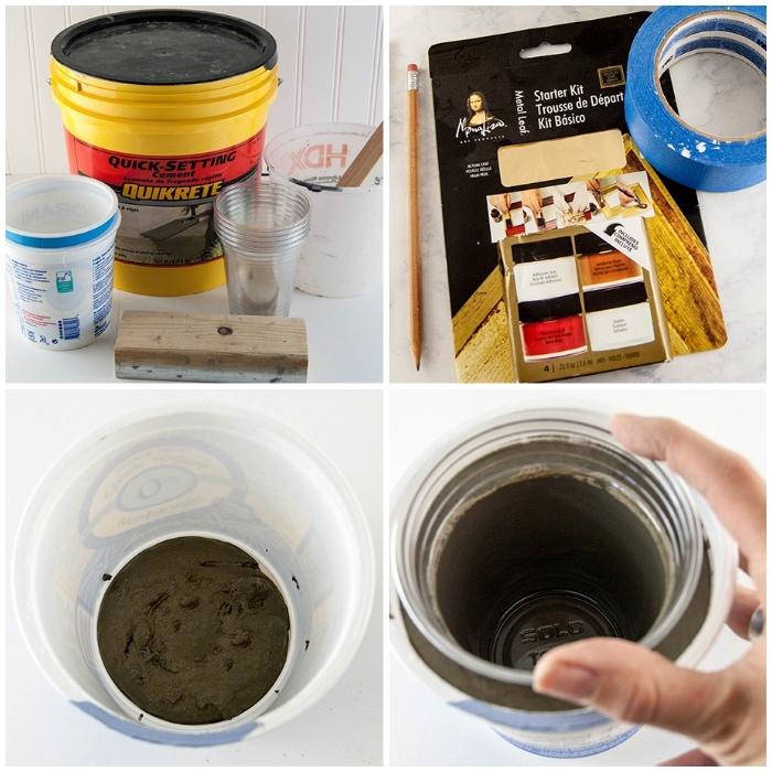 badezimmer deko diy, bastlen mit beton, blumentopf selber machen, pflanzentopf