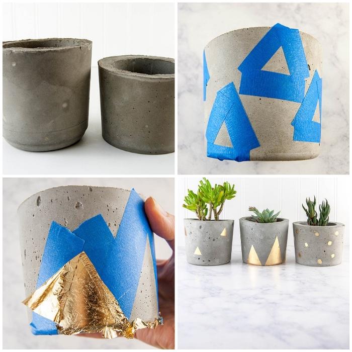 badezimmer deko, diy pflanzentöpfe aus beton, grüne pflanzen, dekorieren mit goldblatt