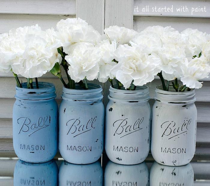 basezimmer deko diy, vasen im obmre look, einmachgläser färben, weiße blumen