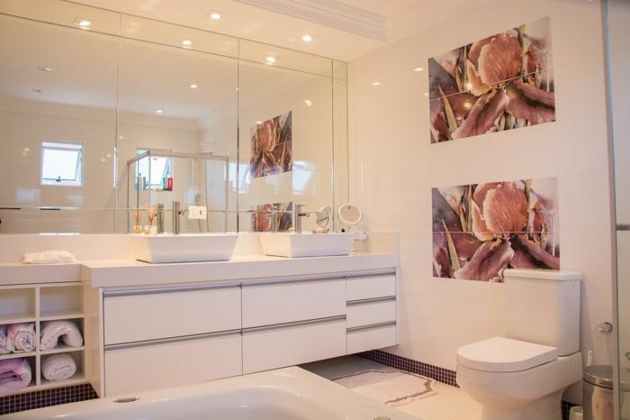 zwei Bilder, Spiegel, Badmöbel Sets