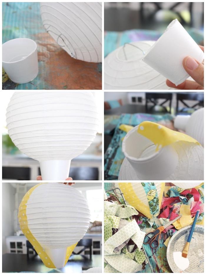 diy anleitung, ballon basteln aus laterne und buntem stoff, selbstgemachter luftballon