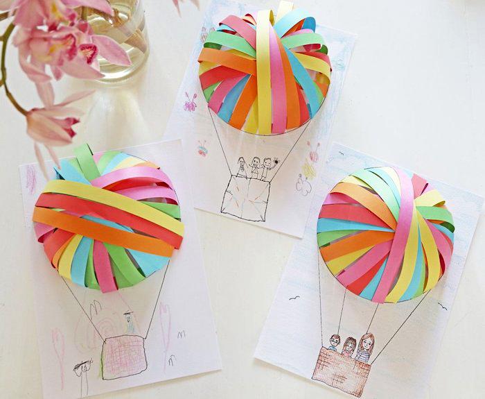 ballon basteln mit kindern, zeichnungen mit 3d ballons aus streifen buntem papier