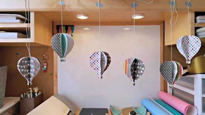 ballon baateln, hängende deko aus papier, 3d luftballons, diy bastelideen, babyzimmerdeko