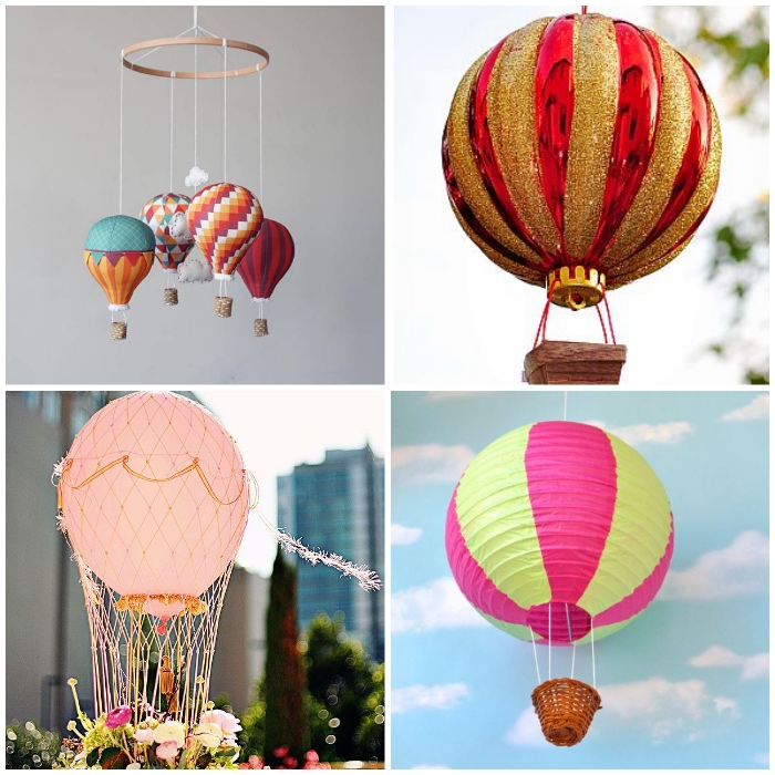 ballon basteln, mobile mit kleinen ballons aus stoff, weihnachtskugel in rot und gold, tischdeko, zweifarbige laterne