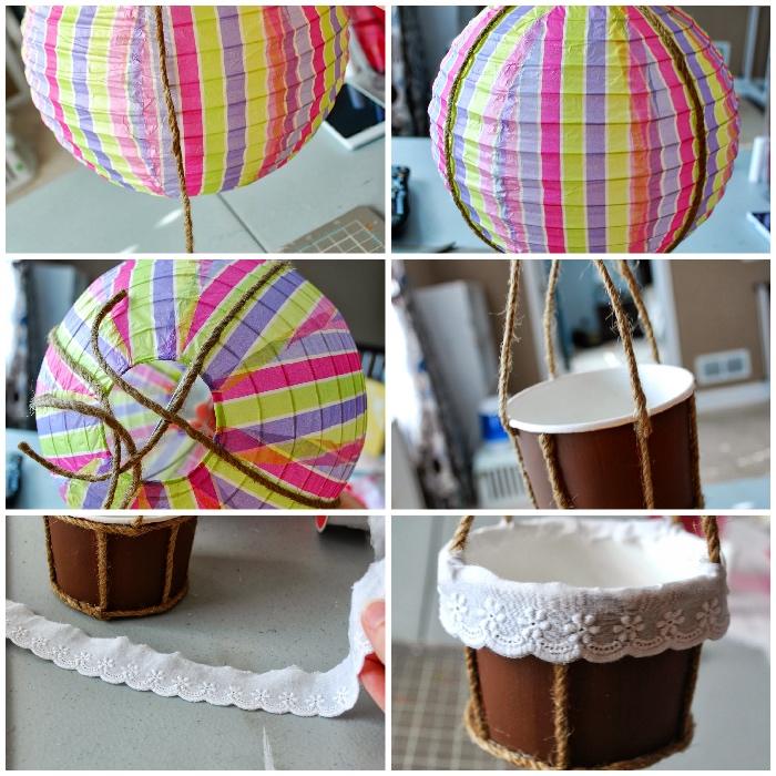 ballon basteln aus papierbecher und laterne, weißes stickband, diy tutorial