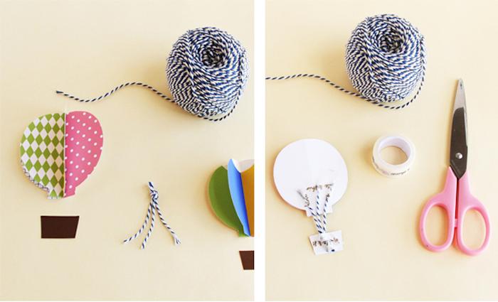 ballon basteln mit papier, faden in blau und weiß, 3d ballon selber machen, rosa schere