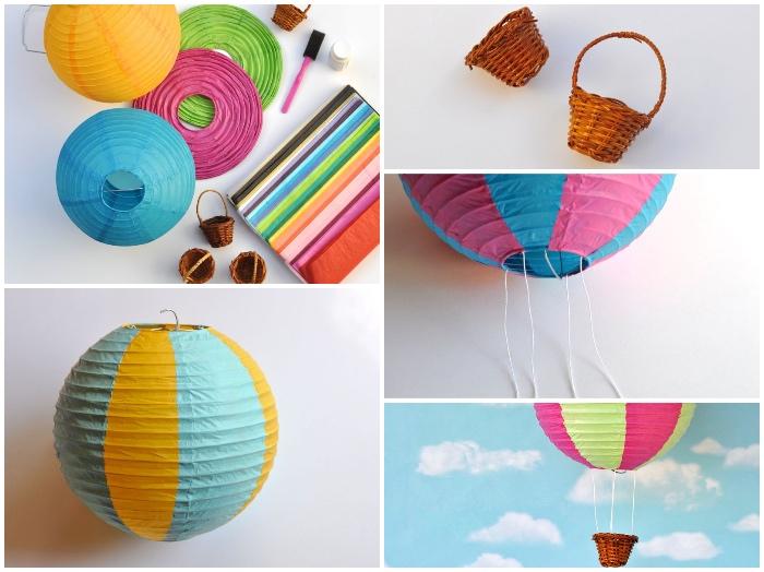 ballon geschenk basteln, papierlaternen in verschiedenen farben, kleine körbe, diy bastelideen