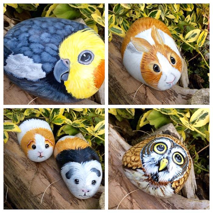 Steine in Form von Tieren gestalten, Vogel Hase Meerschweinchen und Uhu