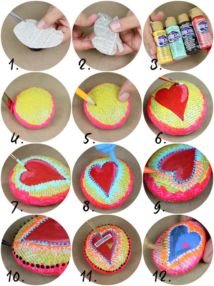Steine mit Zeitungspapier dekorieren, Herzen zeichnen, Anleitung in zwölf Schritten