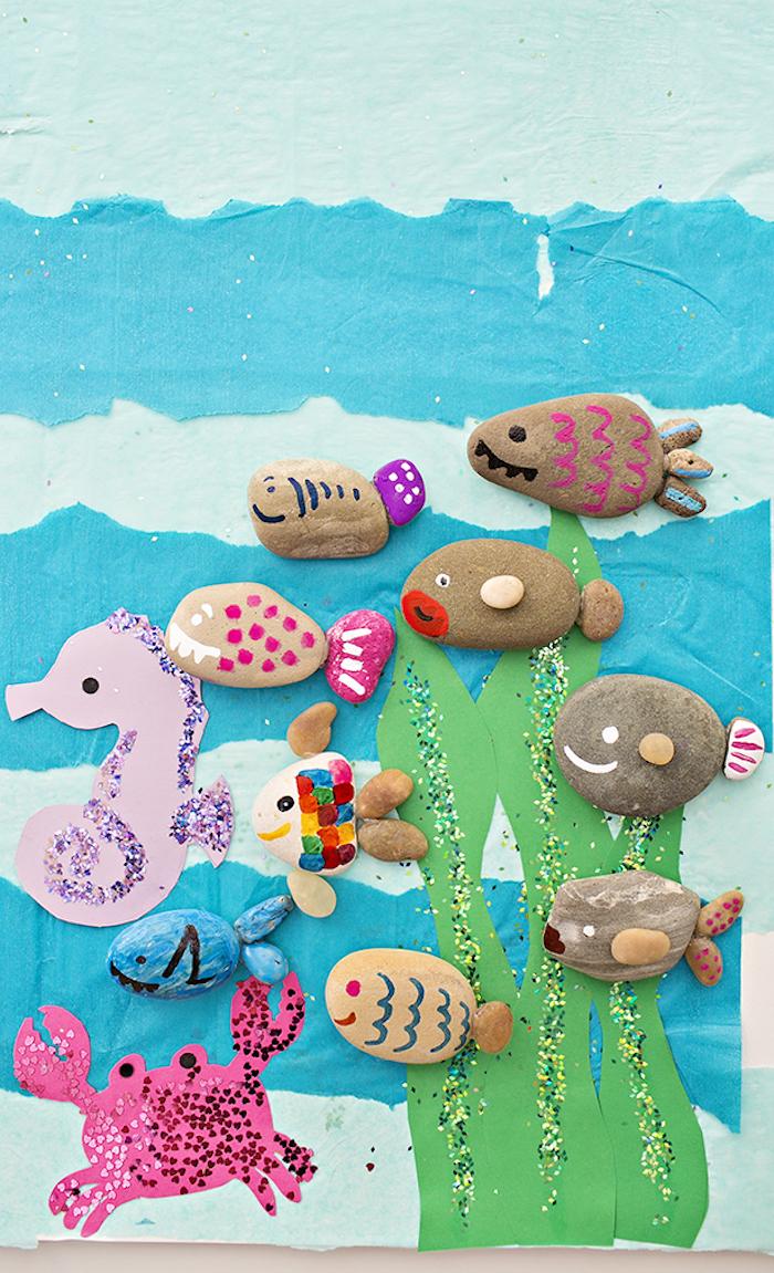 Bastelideen für Kleinkinder, Steine mit Filzstiften bemalen, Fische und Seepferdchen