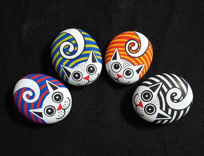 Steine mit Acrylfarben bemalen, Katzen zeichnen, DIY Deko für Zuhause