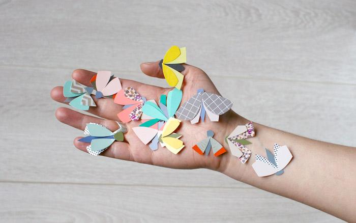 Kleine bunte Schmetterlinge aus Papier, Bastelidee für Groß und Klein