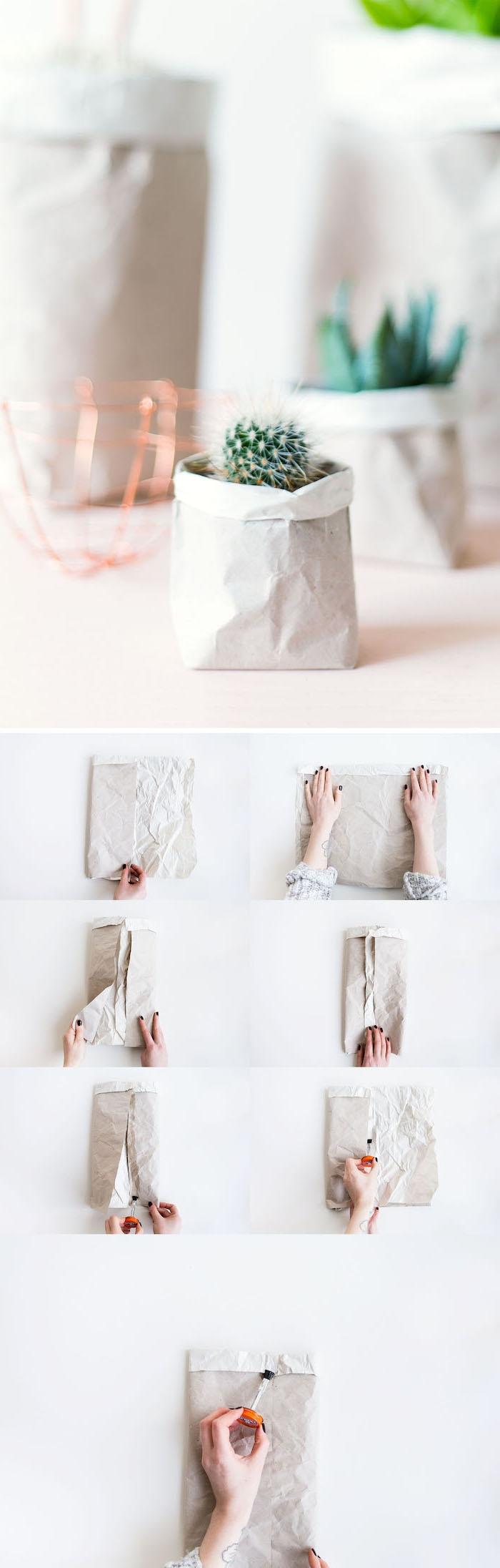 eine schritt für schritt diy bauanleitung, papiertüten falten, kleine weiße blumentöpfe aus alten weißen papiertüten und mit kleinen grünen pflanzen, recycling ideen diy