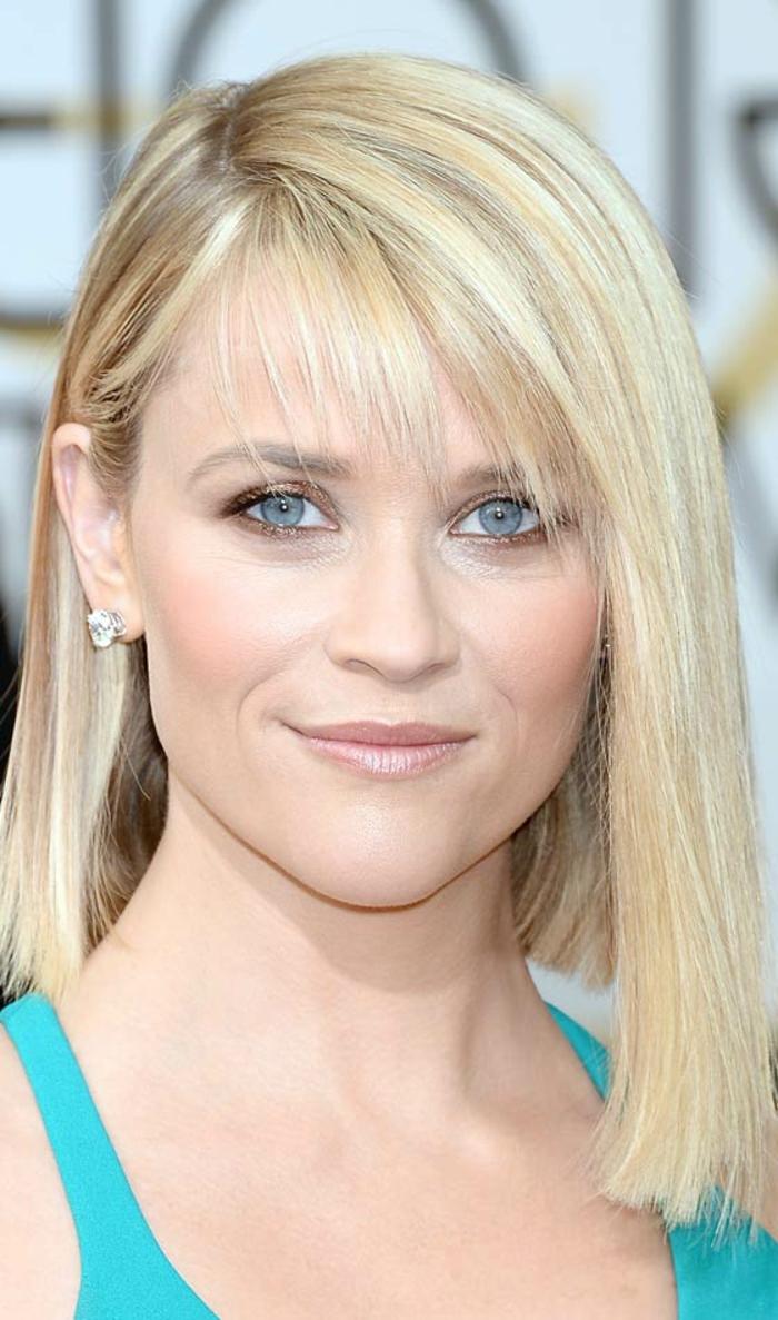 Reese Witherspoon, blaue Augen, blonde Haare, dezentes Make up, welche Frisur steht mir