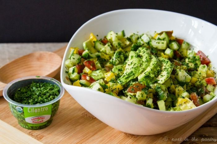 Avocado im Salat, Paprika und Mais, Gurken, Korriander in einer weißen Schale