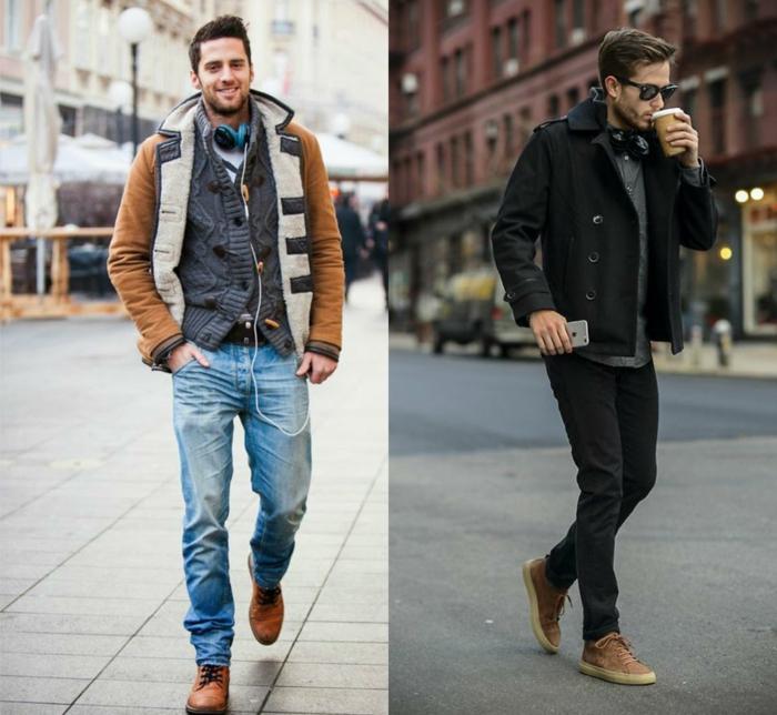 zwei coole Männer mit Winteroutfits, Jeans und Pullover, Herren Frisuren Kurz draußen