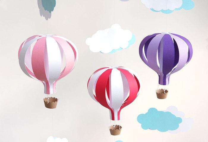deko heißluftballon, basteln mit papier, tolle deko für das babyzimmer, wolken