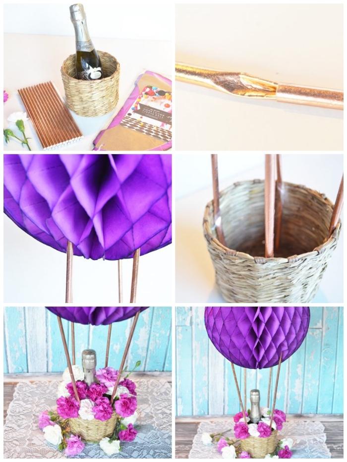 deko heißluftballon, tischdeko selber machen, ball aus lila papier, rosa und weiße blumen, strohalme