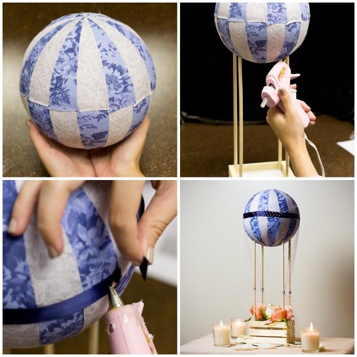 deko heißluftbalon, styroporball dekoriert mit stoff, tischdeko selber machen, tutorial