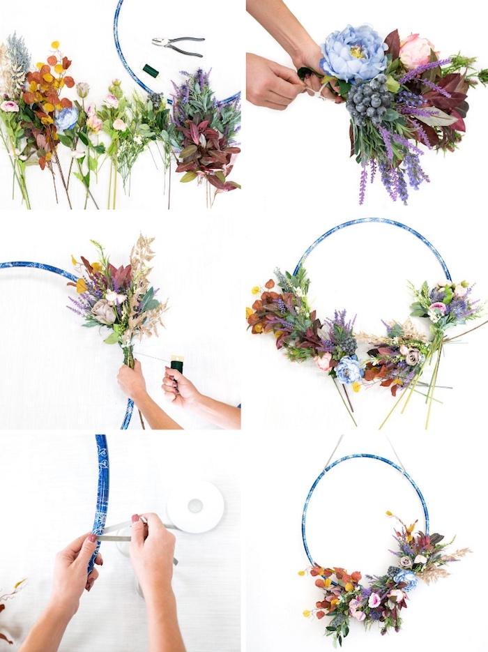 deko ideen selbst machen, reifen mit blumen dekorieren, hängende deko
