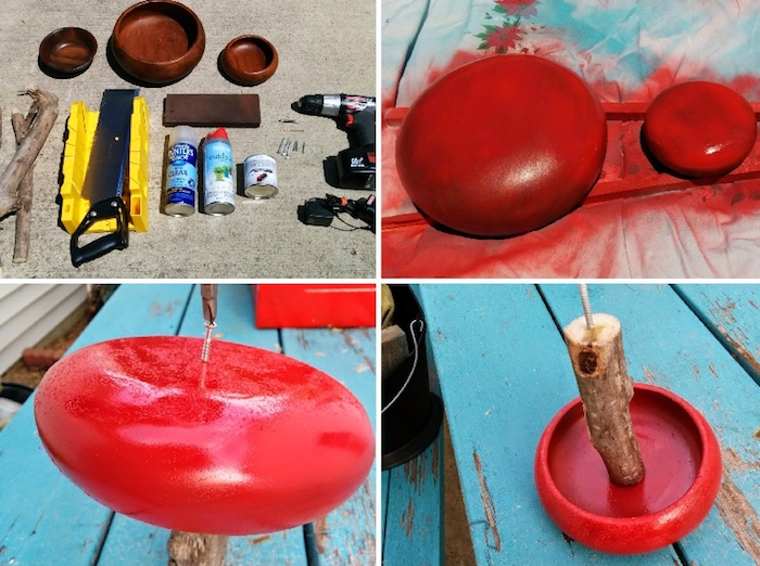 rote farbe, hölzerne schüssel färben, deko ideen selbst machen, upcycling