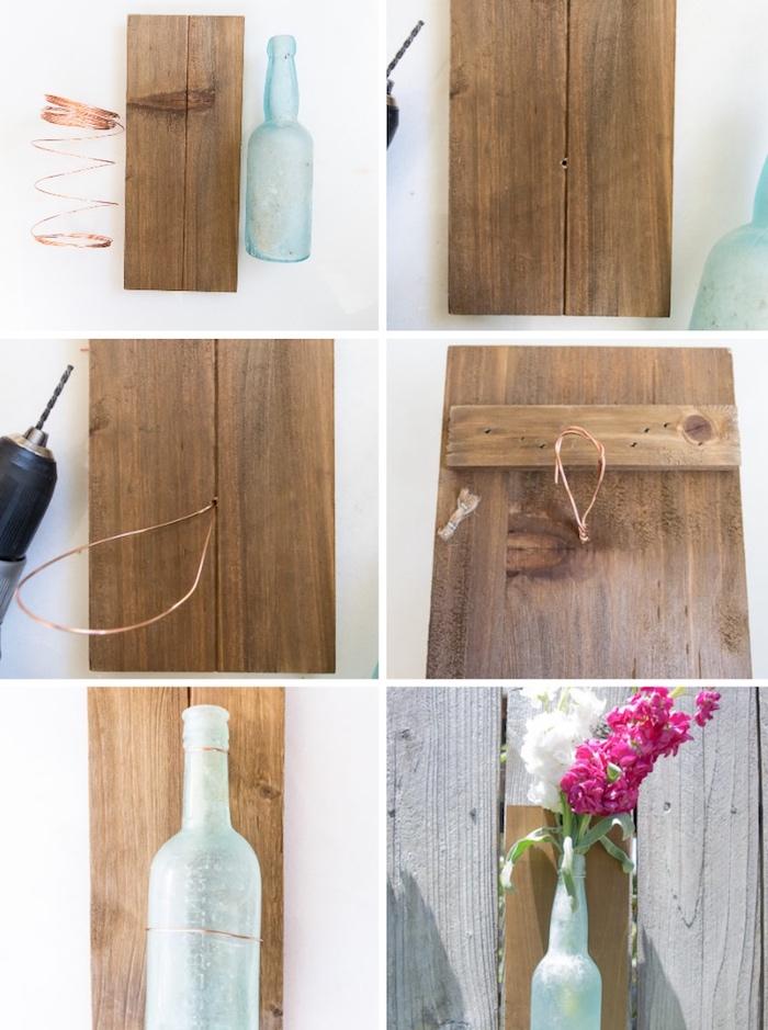 holzbrett bohren, kupferdraht, deko ideen selbst machen, upcycling alte glasflaschen