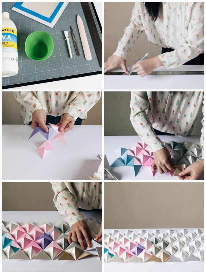 deko ideen wand, 3d bild mit dreiecken aus papier, ombre look, dekoration