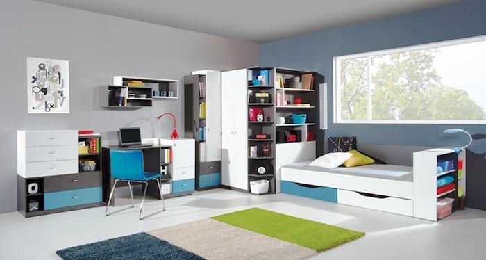 deko jugendzimmer, möbel set in grau, weiß und türkis, dreifarbiger teppich, zimmer für junge