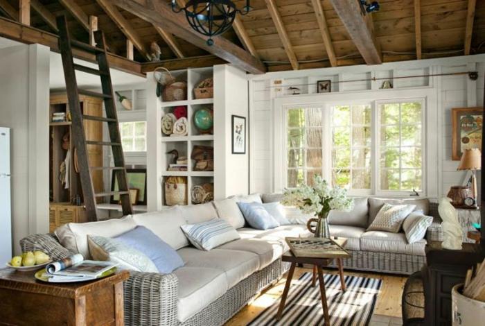 das perfekte wohnzimmer modern alles zubehör, sofa, kaffeetisch, treppe zum nächsten stock, abstellraum, teppich