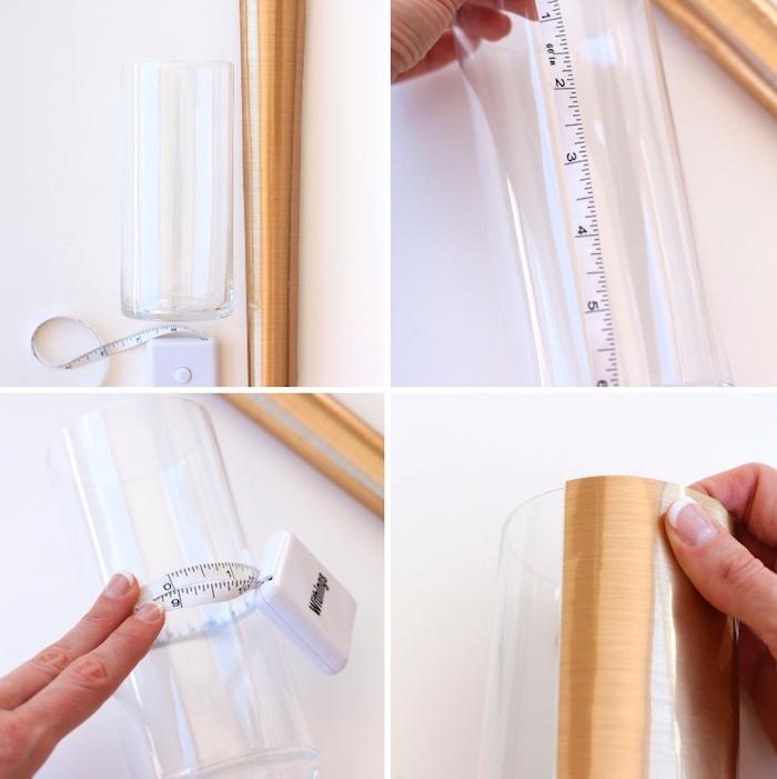 deko selber machen, blatt goldenes papier, glasvase verzieren, diy anleitung
