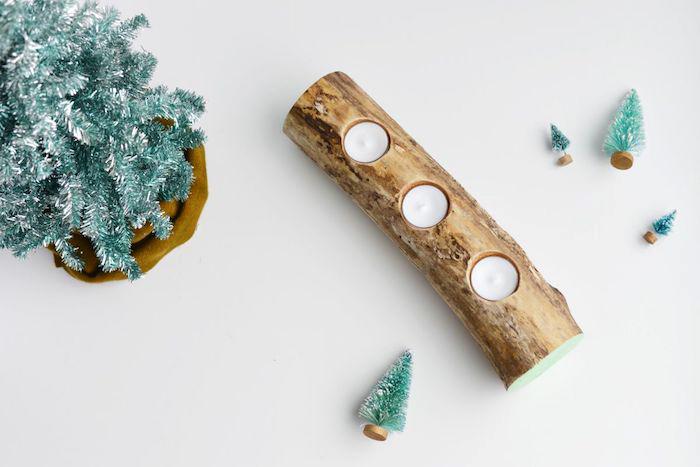 dekoration selber machen, teelichthalter aus holz, kleine weihnachtsbäume, diy pejekt
