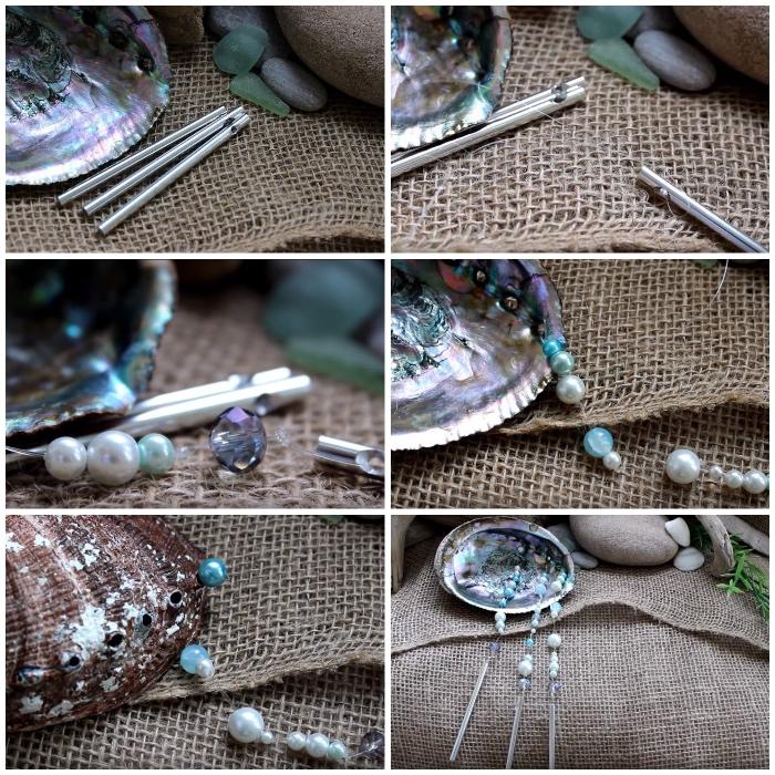 dekoration selber machen, maritime deko, mobile aus muscheln und perlen, tutorial