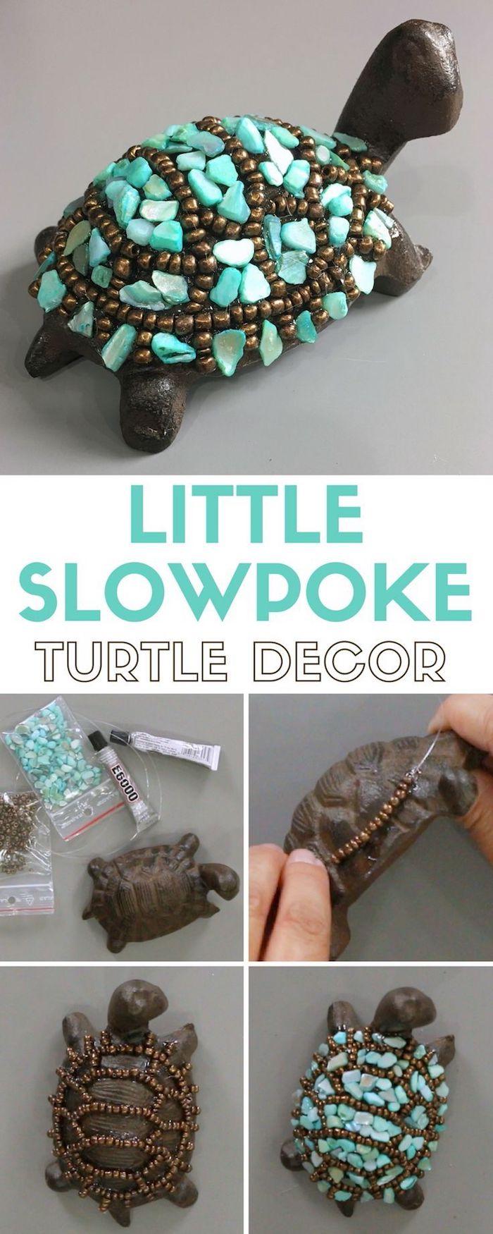 dekoration selber machen, kleine schildkröte mit perlen und strass verzieren, diy