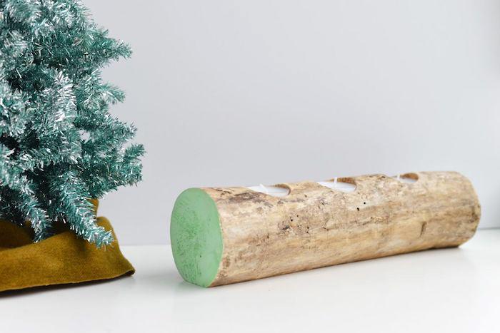 teelichthalter basteln, dekoration selber machen, kleine kerzen, tannenbaum, weihnachtsdeko