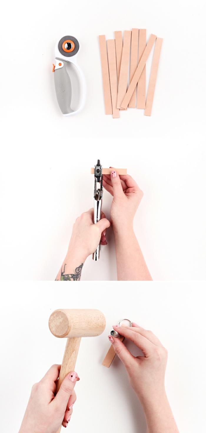 drei Schritte, wie Sie DIY Schlüsselanhänger herstellen, ausschneiden, perforieren und