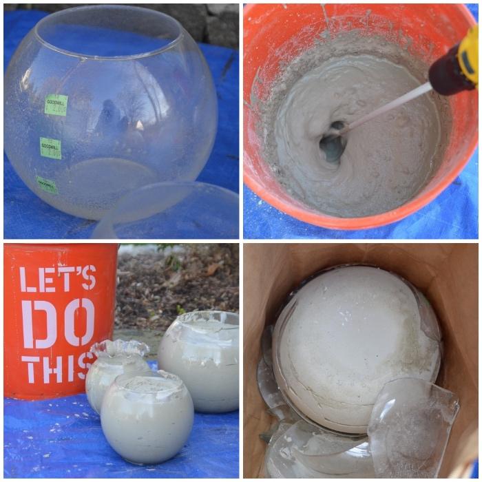 diy gartendeko, bälle aus beton selber machen, runde glasvase, beton mischen