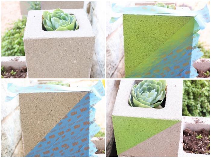 diy gartendeko, betonziegel bemalen, grüne farbe, kleine pflanze, blumentopf