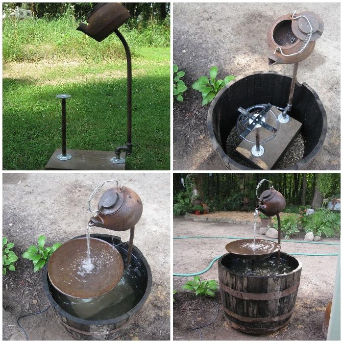 diy gartendeko, fontäne aus großen fässer und teekessel, diy anleitung