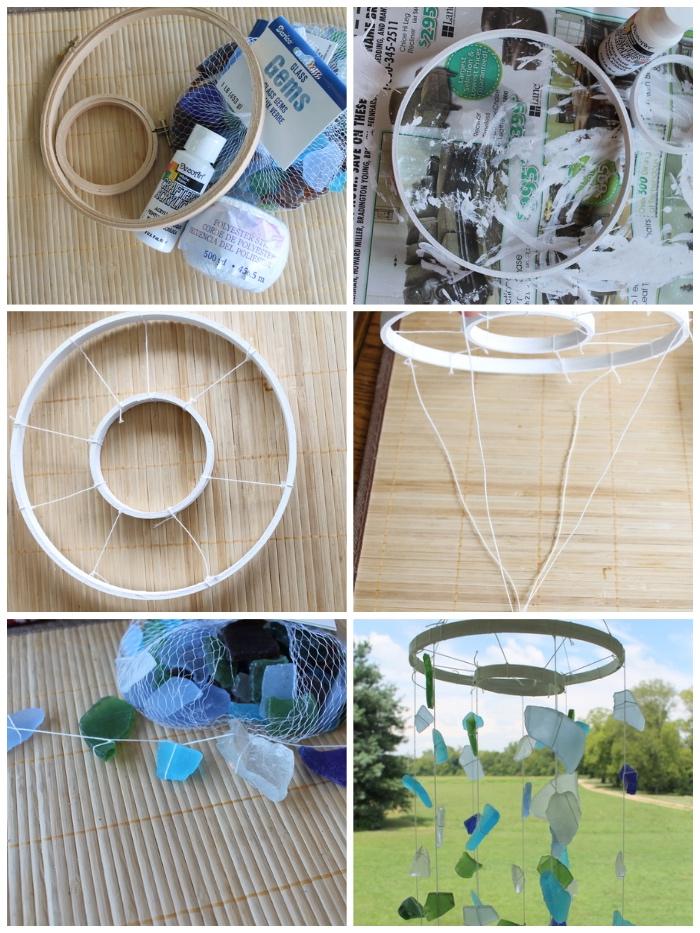 diy gartendeko, mobile selber machen, strickrahmen bemalen, kleine strücke glas in verschiedenen farben