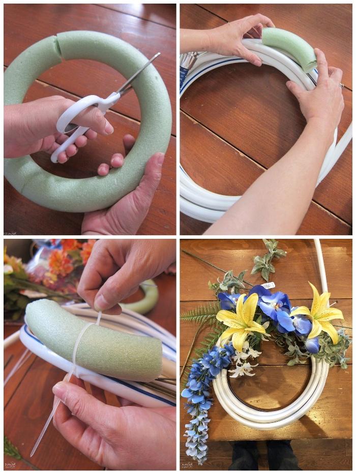 diy gartendeko, schaumring schneiden, gelbe lilien, blaue blumen, hängende deko